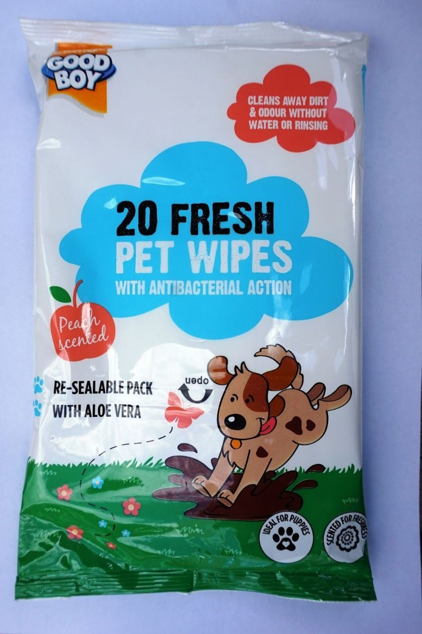 PET WIPES GOOD BOY PEACH SCENTED WIPES WITH ALOE VERA - REMOVES DIRT & ODOUR